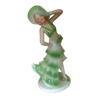 Art Deco Figurine of a Lady in Green