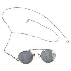 Vintage Pinc-Nez Eyeglasses with Chain & Case