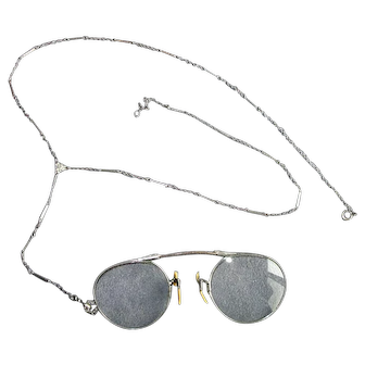 Vintage Pinc-Nez Eyeglasses with Chain & Case