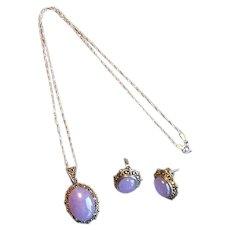 Sterling & Marcasite Pendant & Earrings with Lavender Jade