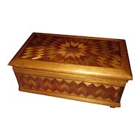 Antique Wooden Marquetry Inlaid Box