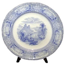 English Blue & White Transfer-Ware Plate
