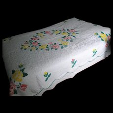 Vintage Applique Quilt with Pink and Yellow Roses