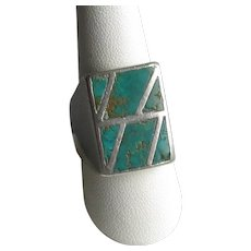 Native American Zuni Silver Turquoise Inlay Ring
