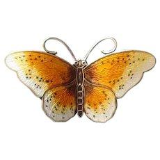 Norway Sterling & Yellow Guilloche Enamel Butterfly Pin