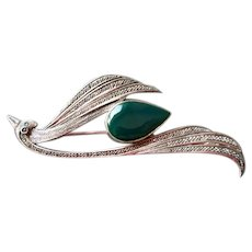 Sterling Silver & Marcasite Bird Pin with Green Onyx Stone