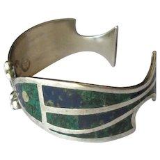 Mexican Silver Los Castillo Inlaid Cuff Bracelet