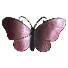 Norway Sterling & Pink Enamel Butterfly Pin