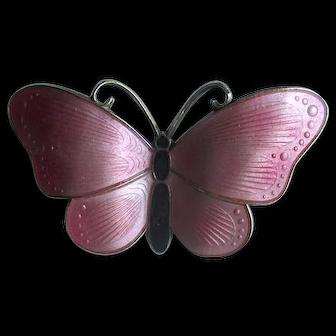 Norway Sterling & Pink Enamel Butterfly Pin