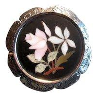 Silver Petra Dura Inlaid Brooch