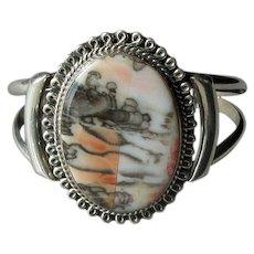 Native American Silver & Picture Jasper Cuff Bracelet