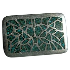 Native American Silver & Turquoise Chip-Inlay Buckle