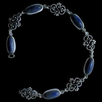 Vintage Silver Filigree and Lapis Lazuli Link Bracelet
