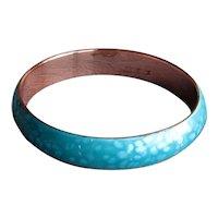 Vintage Copper Enamel Turquoise Matisse Renoir Bangle Bracelet