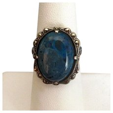 Vintage Sterling & Marcasite Ring with Blue Jasper Stone