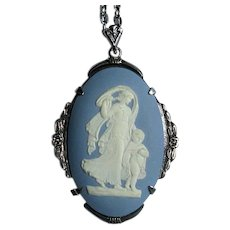 Sterling Pendant Necklace with Blue Wedgwood Cameo