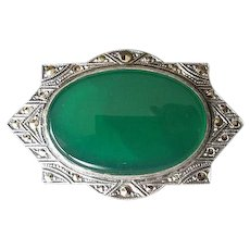 Sterling Silver & Marcasite Pin with Chrysoprase Stone
