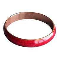 Vintage Copper Enamel Red Matisse Renoir Bangle Bracelet