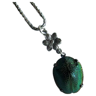 Green Enamel Scarab Pendant with Silver Mountings