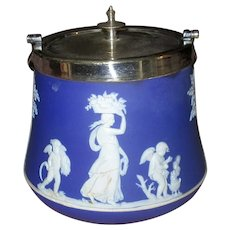 Vintage Blue and White Wedgwood Pottery Biscuit Jar