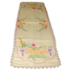 Natural Linen Table Runner with Embroidery and Crocheted Edging
