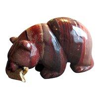 Native American Agate Stone Bear Figurine with Fish