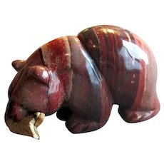 Native American Agate Stone Bear Figurine with Fish