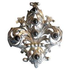 800 Silver Peruzzi Pin/Pendant with Black Onyx Stones