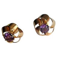 10K Rose Gold Victorian Stud Earrings with Amethysts