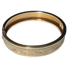 Gold-Filled Bangle Bracelet with Leafy Design