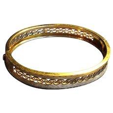 Fancy Gold-Filled Bangle Bracelet with Filigree