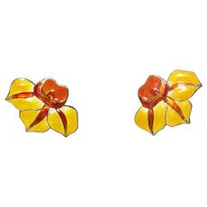 Silver and Enamel Daffodil Earrings