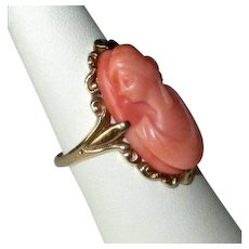 Antique 14K Gold Ring with Carved Coral Cameo