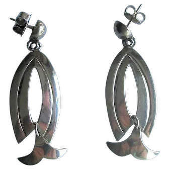Mexican Silver Modernist Drop Posts Earrings