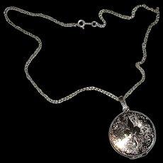 Round Sterling Locket Necklace with Fleur de Lis