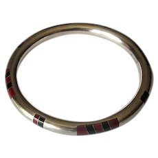 Mexican Sterling Bangle with Onyx Channel Inlay