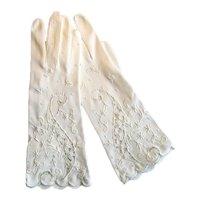 Vintage White Cotton Gloves with Cut-Work Design
