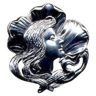 Art Nouveau Lady Sterling Watch or Fob Pin