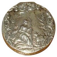 930 Silver Hallmarked Pillbox with Shepherdess Motif