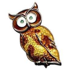 Norway Sterling & Guilloche Enamel Owl Pin