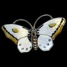 Norway White & Yellow Sterling Enamel Butterfly Pin