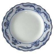"English Flow Blue ""Lotus"" 10"" Dinner Plate"
