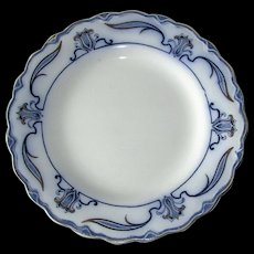 "English Flow Blue ""Lotus"" 10"" Dinner Plate"