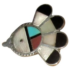 Native American Zuni Silver Stone Inlay Ring