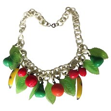 Vintage Celluloid Fruit Choker Necklace