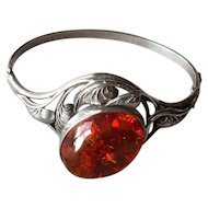 Sterling Silver & Amber Hinged Bangle Bracelet