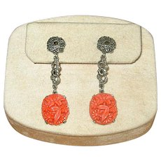 Sterling Silver, Marcasite, and Faux Coral Drop Earrings