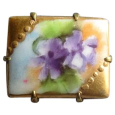 Hand-Painted Ceramic Pin with Violets