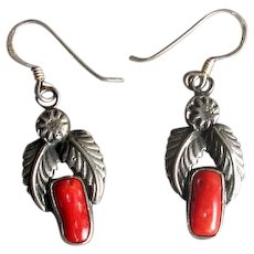Native American Navaho Silver & Coral Drop Earrings