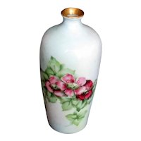 Antique Hand Decorated China Bud Vase with Cottage Roses